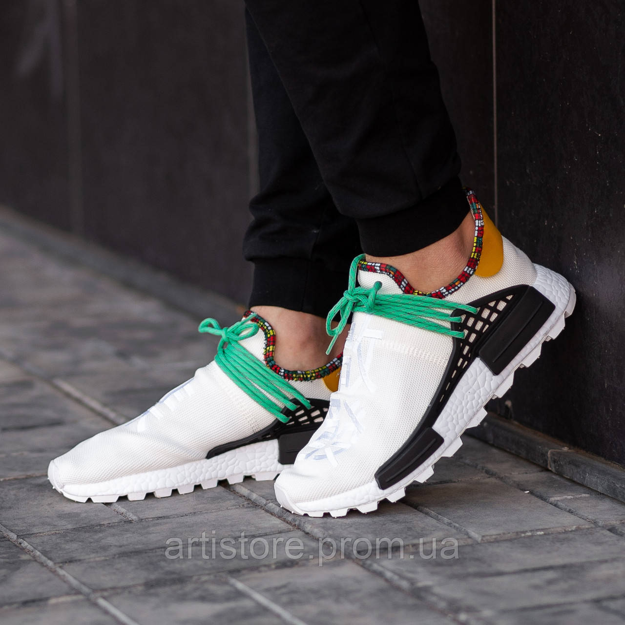 size 40 cf759 f9af9 Кроссовки Adidas x Pharell Williams NMD Human Race White with green and  black Белые с зеленым и черным
