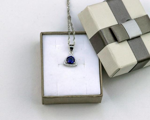 Серебряный кулон с синим камнем
