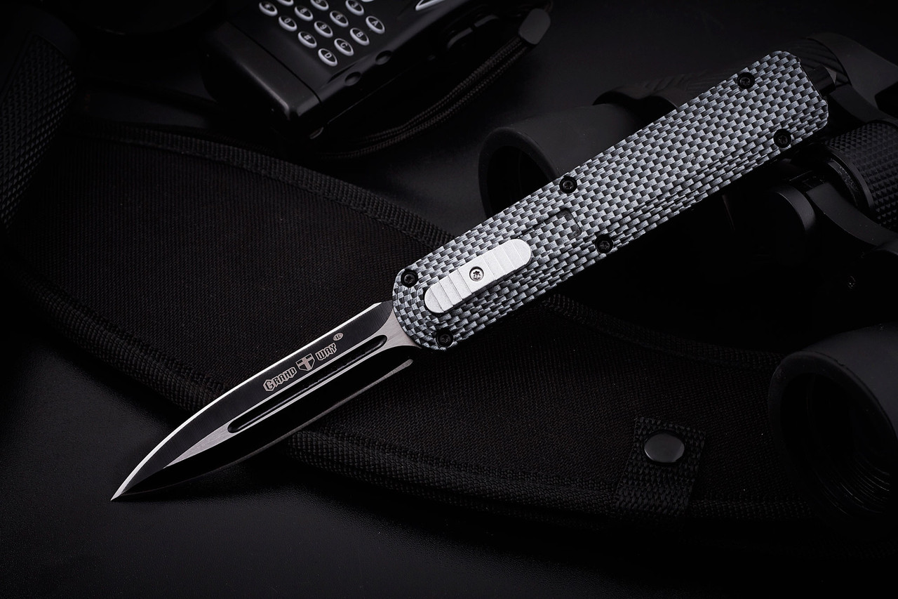 Нож выкидной фронтальный  170177,сталь 440с,чехол