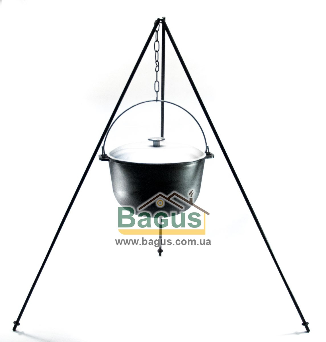 Казан чавунний туристичний 8л 28см з алюмінієвою кришкою, дужкою й триногою, посуд чавунна Біол (0708АК-3)