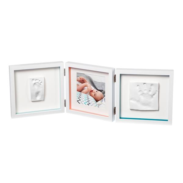 Baby Art - Тройная рамочка Белая с полосками и отпечатками