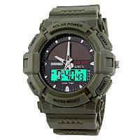 Часы с солнечной панелью Skmei 1050, армейский зеленый, в металлическом боксе