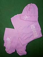 """Летний комплект в роддом """"Алиса"""" 3 предмета (ползунки, распашонка, шапочка) Розовый, фото 1"""