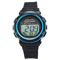 Часы с солнечной панелью Skmei DG1096, синие, в металлическом боксе