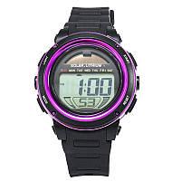 Часы с солнечной панелью Skmei DG1096, фиолетовые, в металлическом боксе