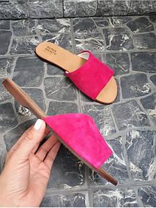 Шлепанцы из натуральной замши розового цвета TENEREZZA FUCSHIA SUEDE