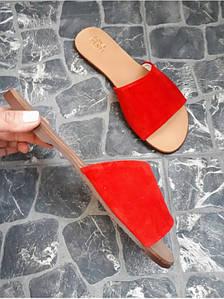 Шлепанцы из натуральной замши красный цвета TENEREZZA FUCSHIA SUEDE