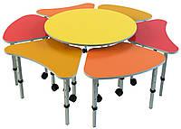 Комплект из 7 детских столов «Ромашка № 3», ростовых групп № 1, 2, 3 — 665x385х460-580 мм, фото 1