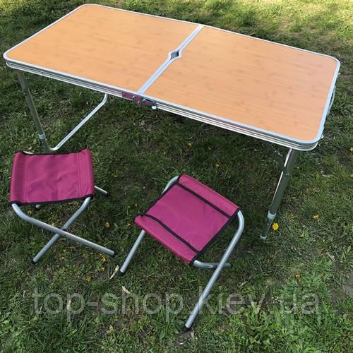 Стол раскладной для пикника и рыбалки  с 4 стульями (турестический)