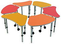 Комплект из 6 детских столов «Ромашка № 3», ростовых групп № 1, 2, 3 — 665x385х460-580 мм, фото 1