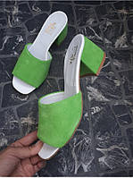 Мюли из натуральной замши зеленого цвета GREY SUEDE