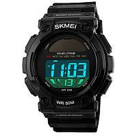 Часы с солнечной панелью Skmei 1126, черные, в металлическом боксе