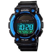 Часы с солнечной панелью Skmei 1126, черный-синий, в металлическом боксе