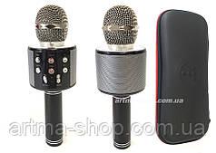 Беспроводной караоке микрофон WSTER 858 (чёрный) + ЧЕХОЛ + ПОДАРОК