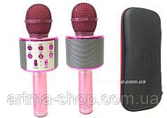 Беспроводной караоке микрофон WSTER 858 (розовый) + ЧЕХОЛ + ПОДАРОК