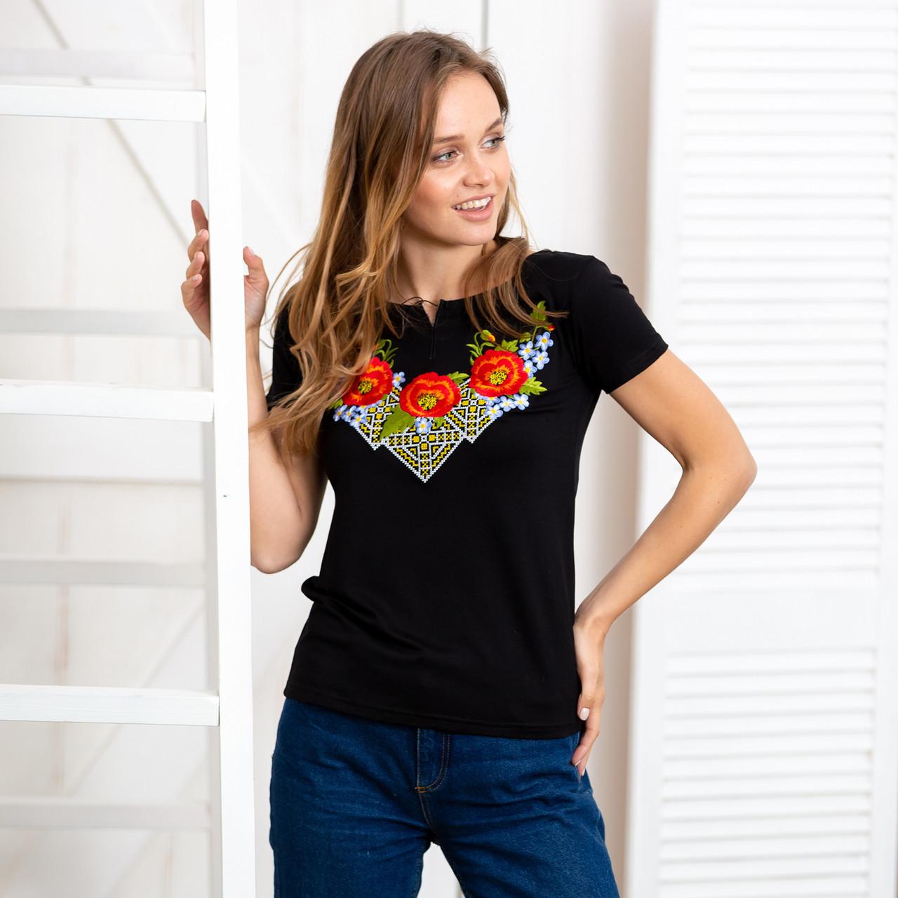 Вышитая трикотажная футболка Три мака черного цвета