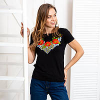 Вышитая трикотажная футболка Три мака черного цвета, фото 1