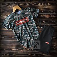 Мужской летний спортивный костюм Supreme камо топ-реплика