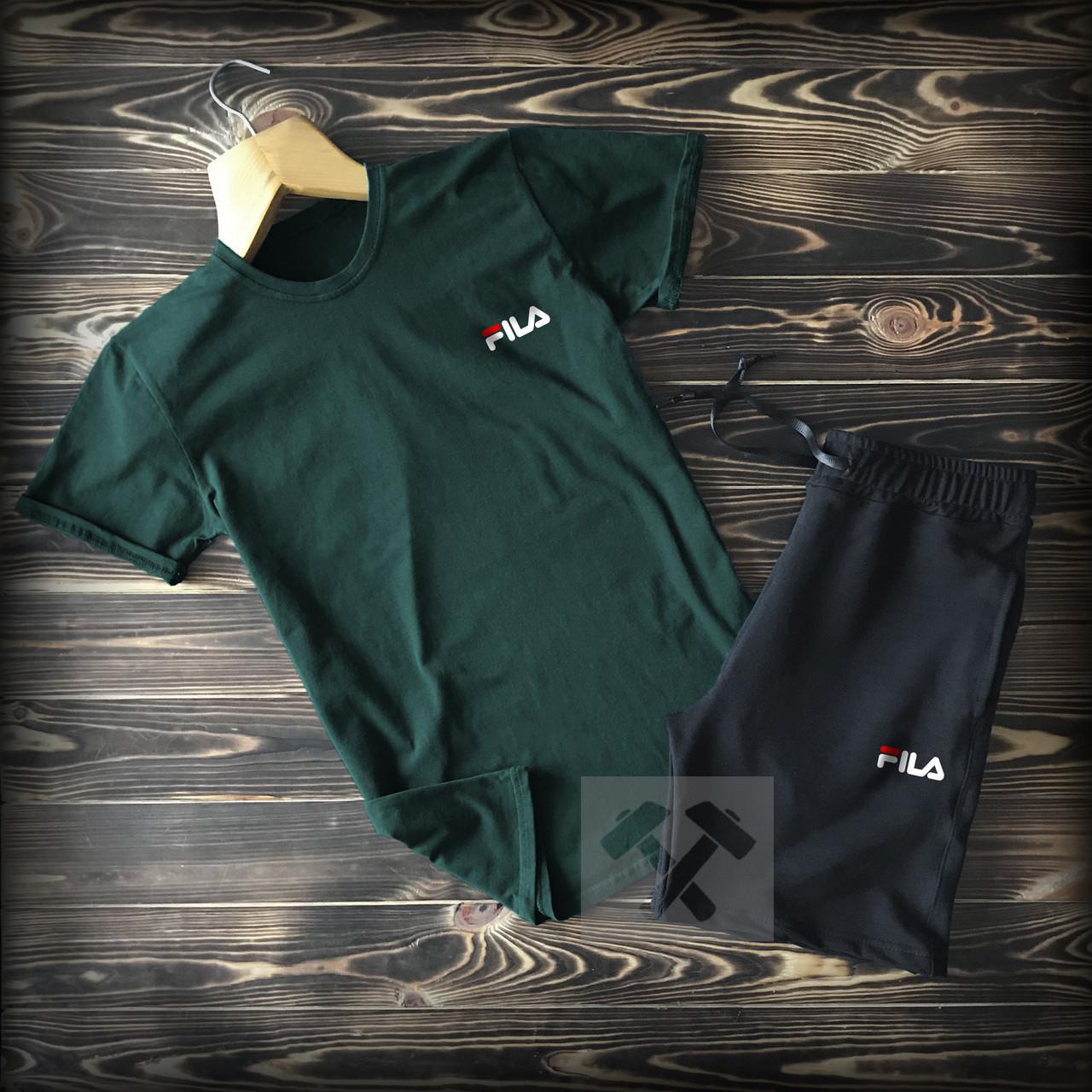 Мужской летний спортивный костюм Fila зеленый топ-реплика