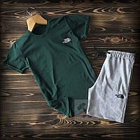 Мужской летний спортивный костюм The North Face зеленого цвета топ-реплика