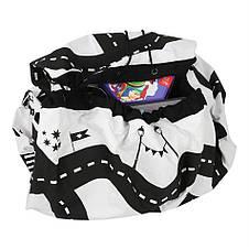 Коврик-мешок для игрушек 140см. Игровой коврик для детей с принтом дороги., фото 3