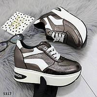 Кроссовки на платформе никель 5317, фото 1
