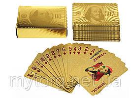 Колода игральных карт 100$ водонепроницаемые 100 долларов Золотой