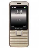Мобильный телефон Prestigio Grace A1 1281 Dual Sim Gold (PFP1281DUOGOLD), 2.8 (320х240) TN / клавиатурный моноблок / ОЗУ 32 МБ / 32 МБ встроенной +