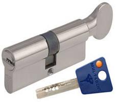 Цилиндр Mul-T-Lock 7х7  76мм.(31х45) ключ-тумблер (матовый хром)