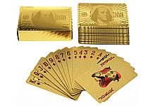 Колода гральних карт Сто доларів водонепроникні  Золотий