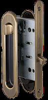 Замок с ручками для раздвижной двери Armadillo SH011-BK AB бронза