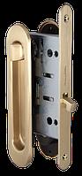 Замок с ручками для раздвижной двери Armadillo SH011-BK SG матовое золото