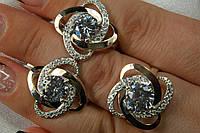 Гарнитур серебряных украшений с золотом из двух предметов