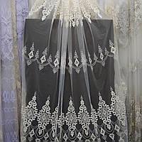 Тюль гардина на фатиновой основе с плотной вышивкой Турцыя Молочного цвета, фото 1