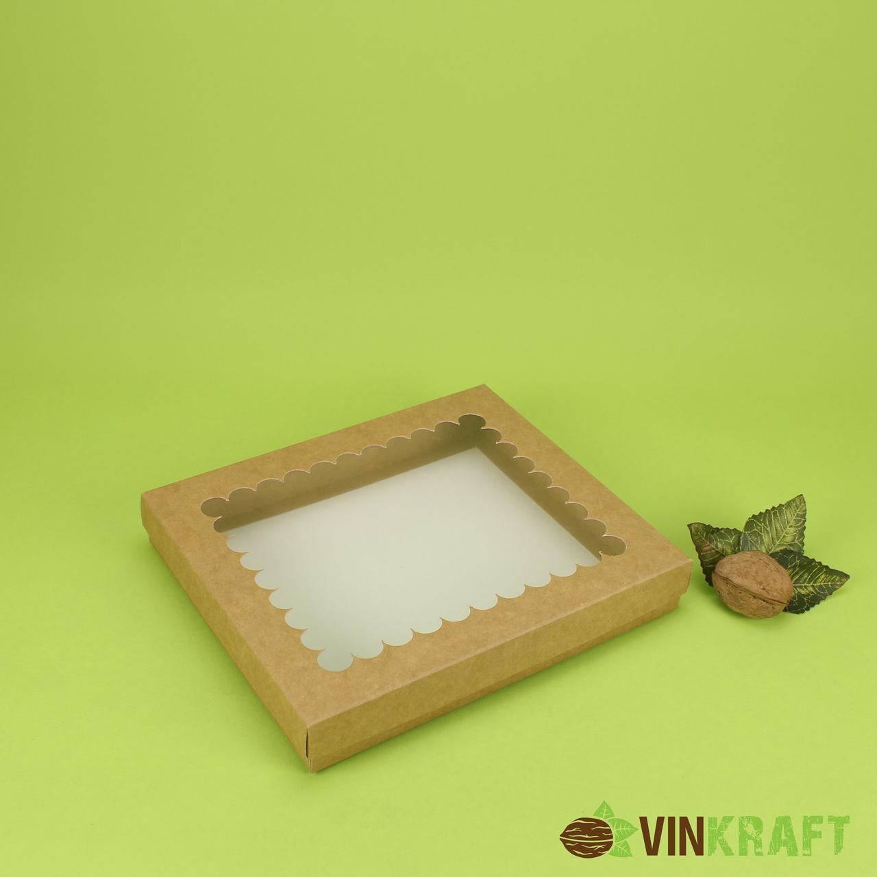 Коробка 200*170*30 для пряника з вікном, крафт