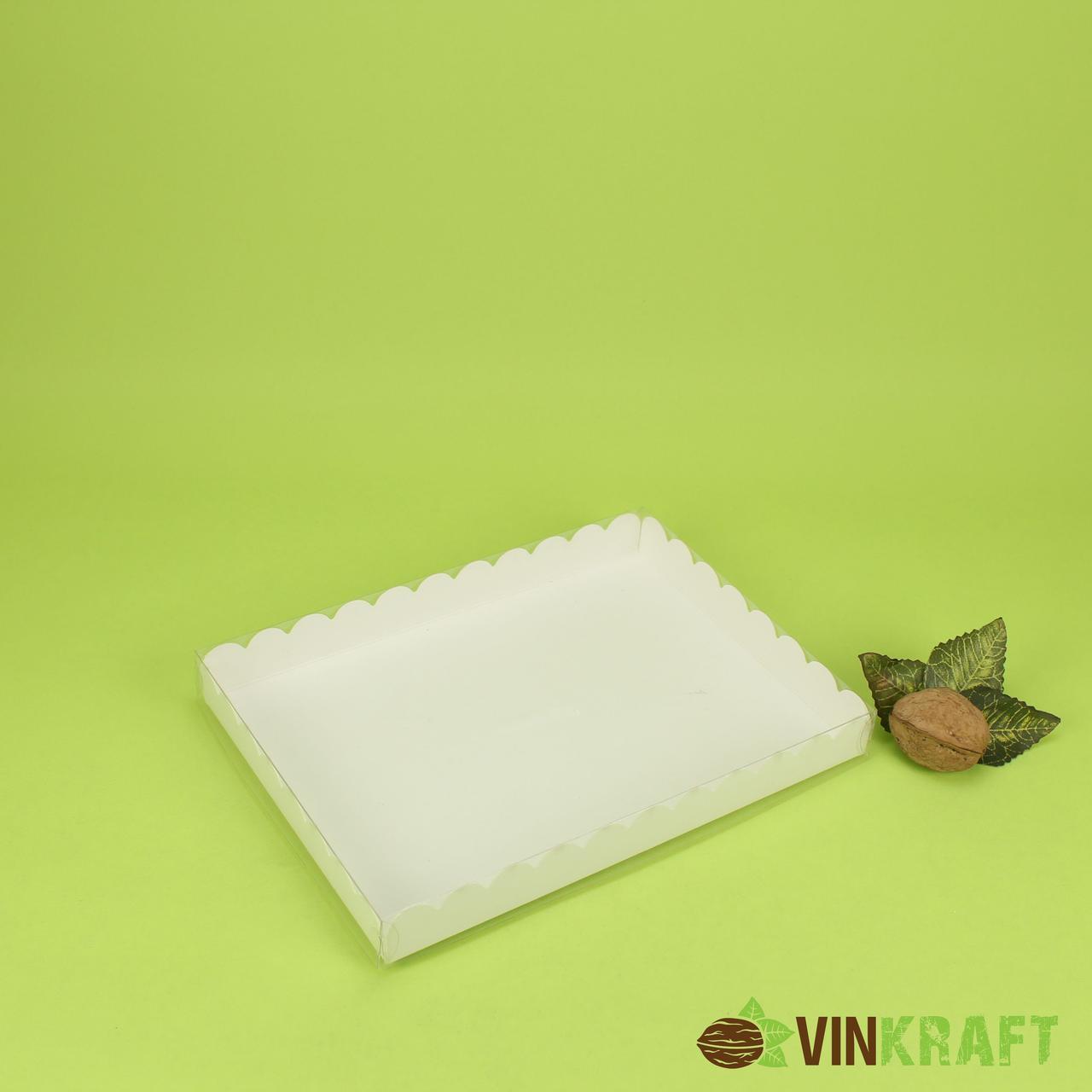 Коробка 210*155*25 для пряника з прозорою кришкою, біла
