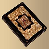Книга кожаная Библия золотая с иконой (М1)