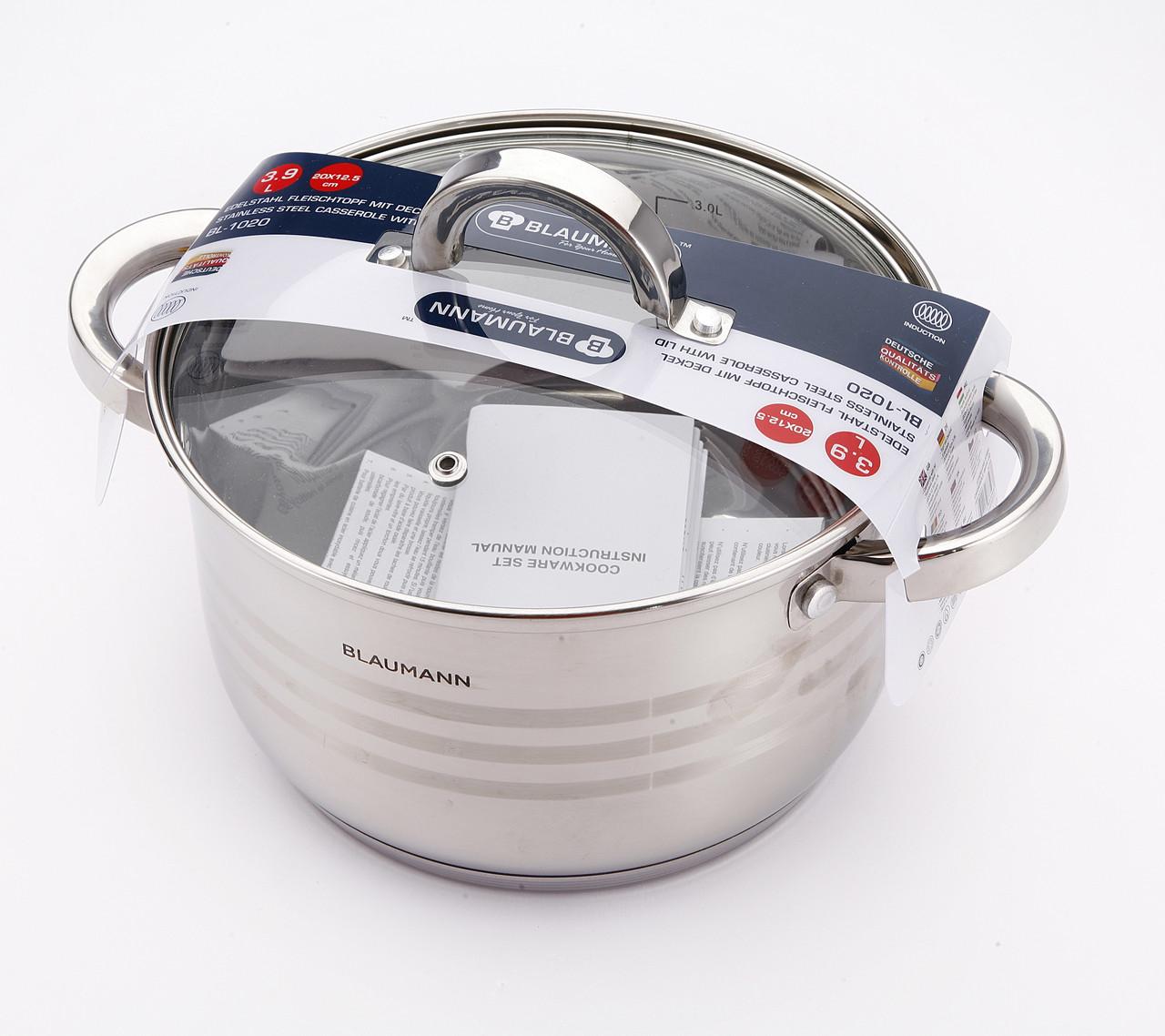 Кастрюля 3,9 л 20 см Blaumann BL-1020 - Mini-Cena - интернет магазин посуды и бытовой техники  в Луцке