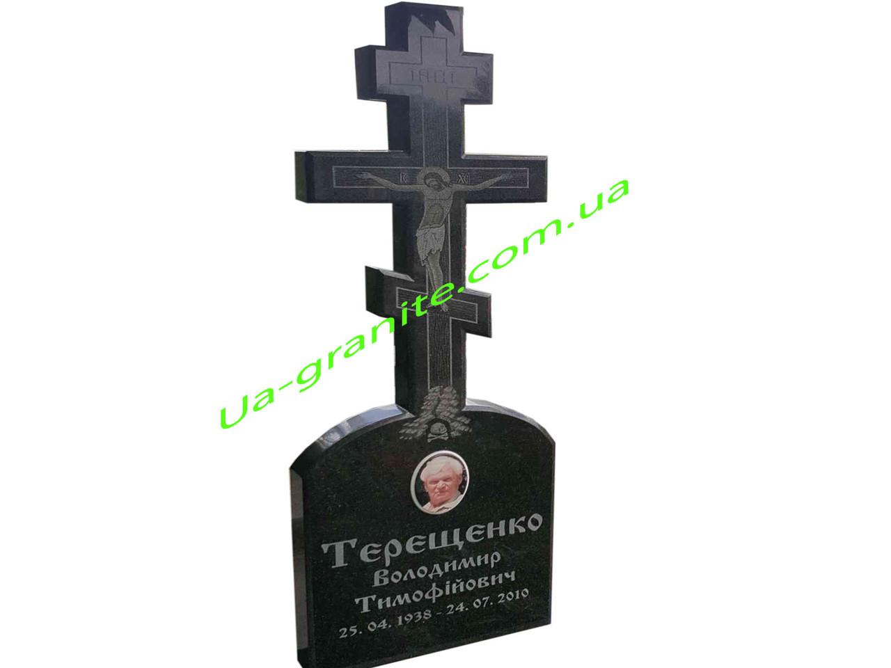 Православний хрест із граніту на кладовище чорного кольору.