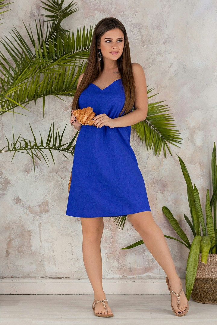"""Льняное летнее мини-платье """"Ореол"""" на бретелях (3 цвета)"""