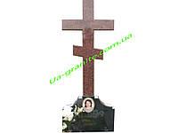 Православний хрест із червоного граніту на могилу
