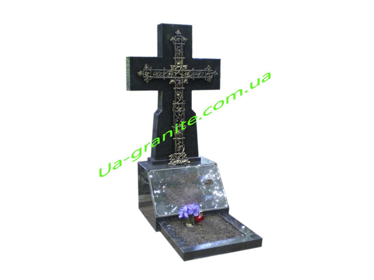 Православний хрест на могилу із чорного граніту