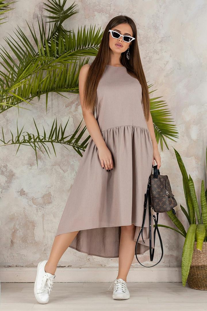 """Льняное асимметричное платье """"Валенсия"""" с заниженной талией (3 цвета)"""