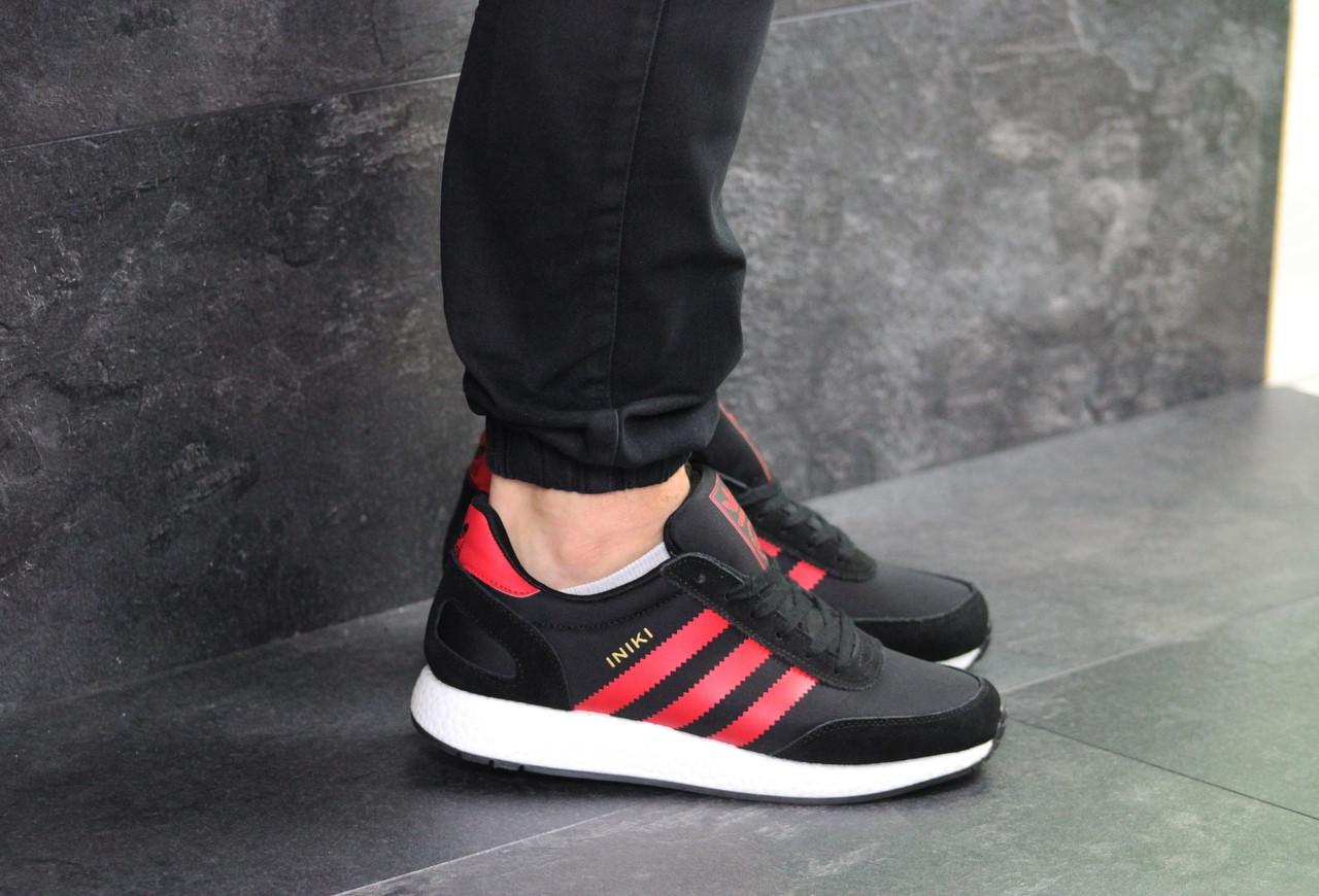 Мужские кроссовки Adidas Iniki (черно-красные)