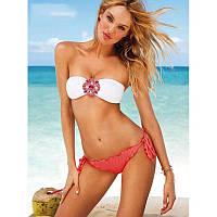 Купальник раздельный стиль Victorias Secret с брошка S алые плавки белый верх