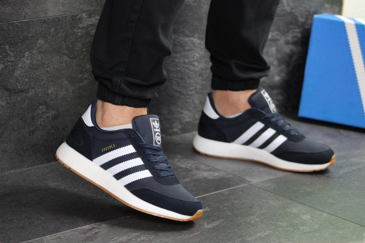 Мужские кроссовки Adidas Iniki (темно-синие с белым)