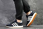 Мужские кроссовки Adidas Iniki (темно-синие с белым) , фото 6