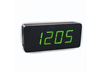 Часы сетевые VST-865 черные с зеленой подсветкой, фото 1