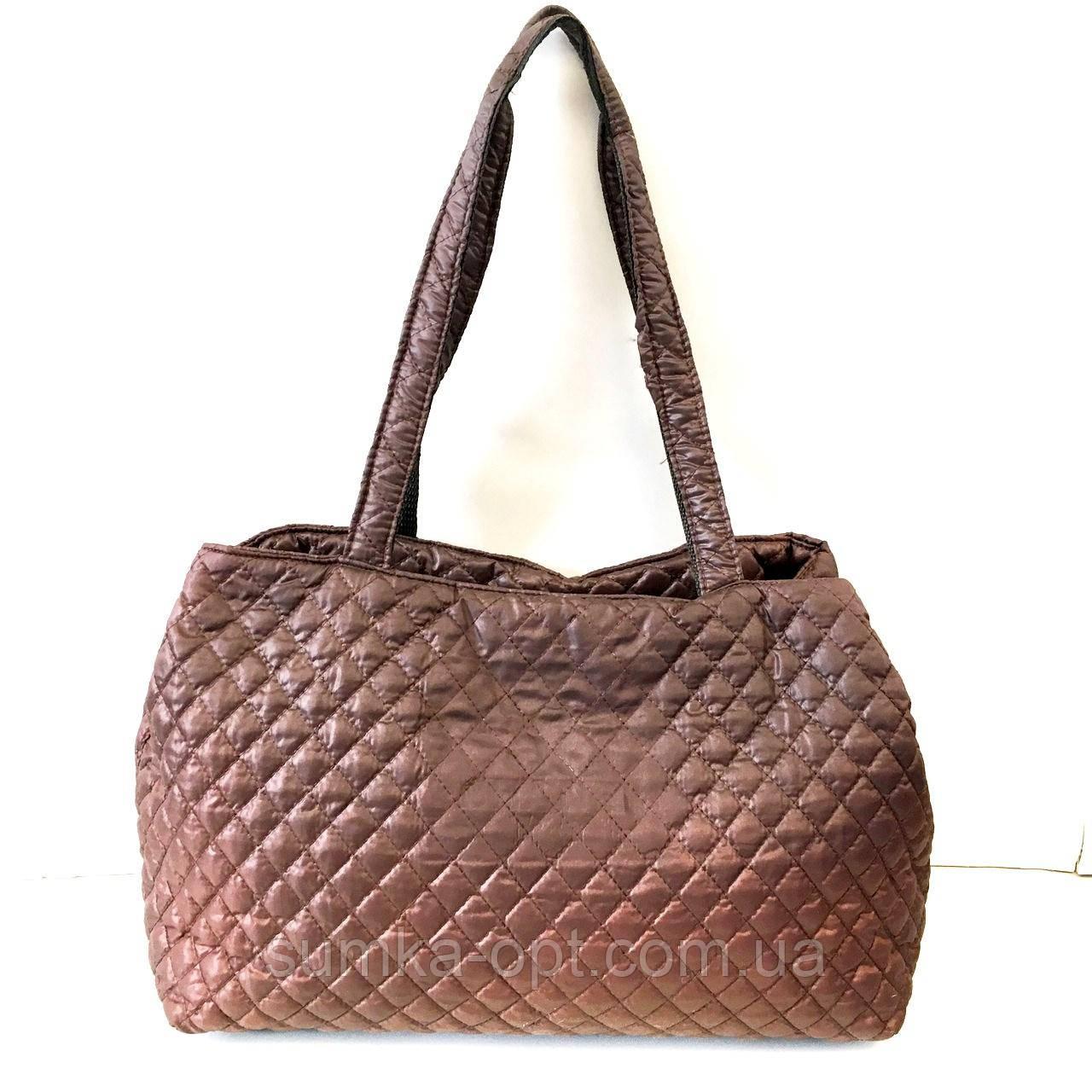 Женские стеганные сумки дешево опт до 100грн Chanel (каштан)26*51см