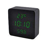 Часы сетевые VST-872S черные с зеленой подсветкой